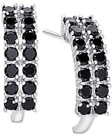 Black Spinel Curved Hoop Earrings in Sterling Silver