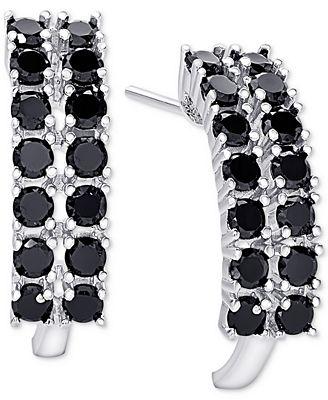 Macy S Black Spinel Curved Hoop Earrings In Sterling Silver