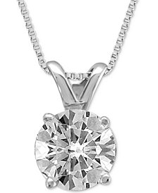 Pendant necklace shop pendant necklace macys diamond solitaire pendant necklace 34 ct tw aloadofball Image collections