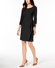 Charter Club Petite Side-Flounce Shift Dress, Created for Macy's