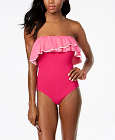 Coco Reef Agate Ruffled Off-The-Shoulder Bra-Sized Allover Slimming One-Piece Swimsuit