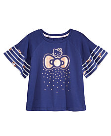 Hello Kitty Ruffle-Sleeve T-Shirt, Little Girls