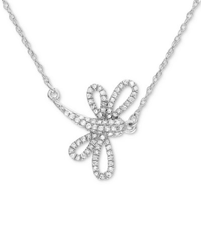 Diamond Dragonfly Pendant Necklace (1/8 ct. t.w.) in 14k White Gold