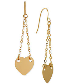 Heart Chain Drop Earrings in 14k Gold