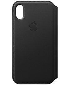 Apple iPhone X Black Leather Folio Case MQRV2ZM A