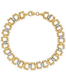 Beaded Link Bracelet in 14k Gold & White Gold