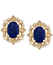 Sapphire (1-1/3 ct. t.w.) & Diamond (1/8 ct. t.w.) Stud Earrings in 14k Yellow Gold (Also Available in Emerald)