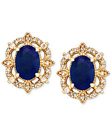 Sapphire (1-1/3 ct. t.w.) & Diamond (1/8 ct. t.w.) Stud Earrings in 14k Gold