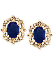 Sapphire (1-1/3 ct. t.w.) & Diamond (1/8 ct. t.w.) Stud Earrings in 14k Gold