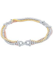 Arabella Tricolor Swarovski Cubic Zirconia Bracelet in Sterling Silver & 18k Gold & Rose Gold-Plate