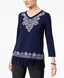 Alfred Dunner Montego Bay Embroidered Fringe Sweater