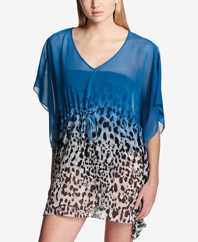 Calvin Klein Ombré Leopard Animal Print Drawstring Caftan Cover-Up