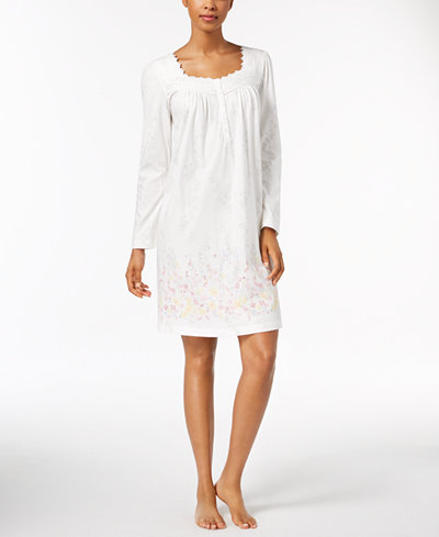 Charter Club Embroidered Floral-Hem Nightgown, Created for Macy's