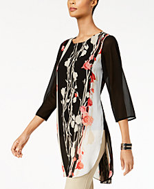 Alfani Petite Printed Tunic Top, Created for Macy's