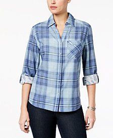 Style & Co Cotton Plaid Utility Shirt, Created for Macy's