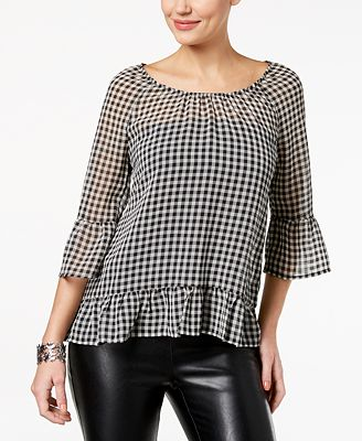 Style & Co Petite Gingham Ruffle-Trim Blouse, Created for Macy's