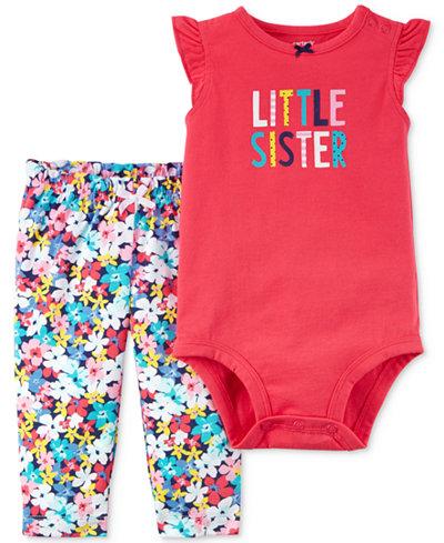 Carter's 2-Pc. Cotton Little Sister Bodysuit & Floral-Print Pants Set, Baby Girls