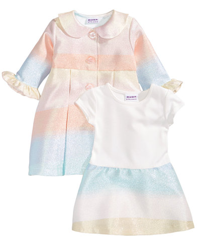 Blueberi Boulevard 2-Pc. Multicolor Coat & Dress Set, Baby Girls