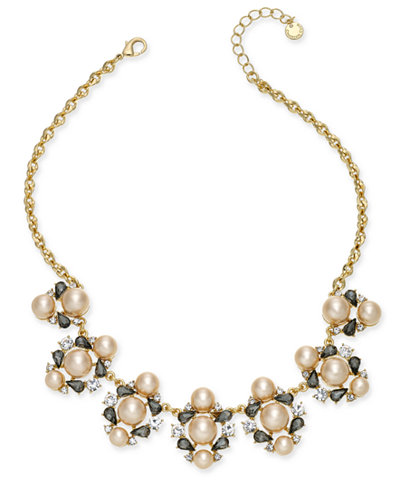 Charter Club Gold-Tone Crystal & Pink Imitation Pearl Statement Necklace, Created for Macy's