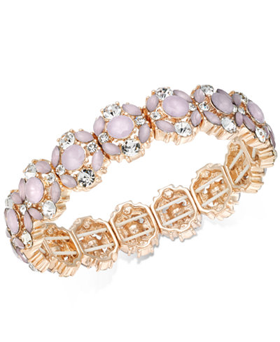 Charter Club Rose Gold-Tone Crystal & Pink Stone Stretch Bracelet, Created for Macy's