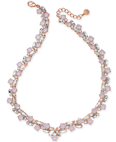 Charter Club Rose Gold-Tone Crystal & Pink Stone Collar Necklace, Created for Macy's