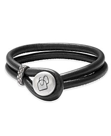 Men's Two-Row Leather Bracelet in Sterling Silver