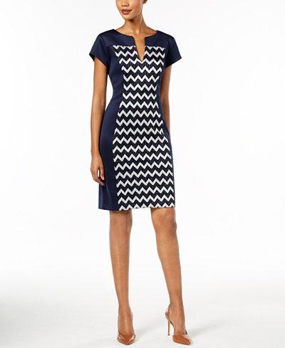 Connected Metallic Chevron-Print Sheath Dress