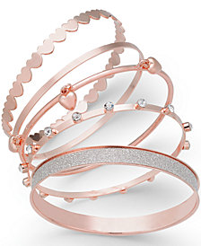 Thalia Sodi Rose Gold-Tone 5-Pc. Set Crystal & Heart-Themed Bangle Bracelets, Created for Macy's