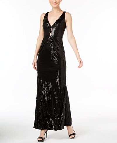 Calvin Klein V-Neck Sequined Gown