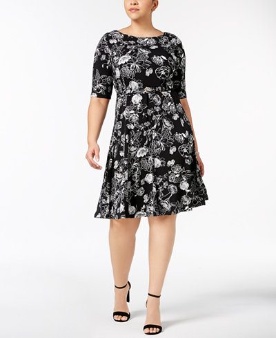 Charter Club Plus Size Belted Fit & Flare Dress, Created for Macy's
