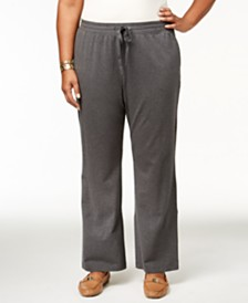 Karen Scott Plus Size Drawstring Waist Soft Pants, Created for Macy's