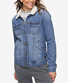 Juniors' Cotton Faux-Fur-Trim Denim Jacket