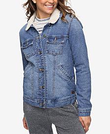 Roxy Juniors' Cotton Faux-Fur-Trim Denim Jacket