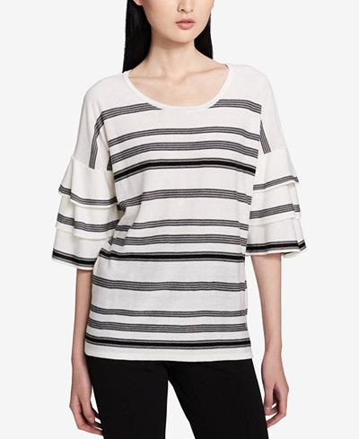 Calvin Klein Striped Ruffled-Sleeve Sweater
