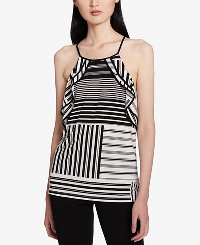 Calvin Klein Striped Ruffled Top