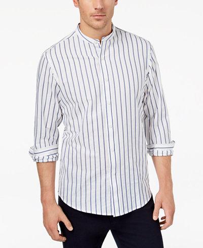 Club Room Men's Stripe Band-Collar Shirt, Created for Macy's