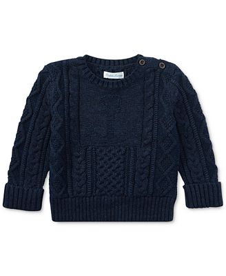 Ralph Lauren Cable-Knit Cotton Sweater, Baby Boys (0-24 months ...