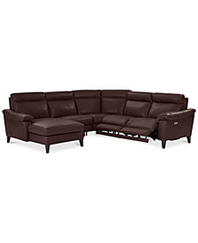 CLOSEOUT! Pirello 5-Pc. Leather Sectional Sofa with Chaise, 2 Power Recliners with Power Headrests and USB Port, Created for Macy's