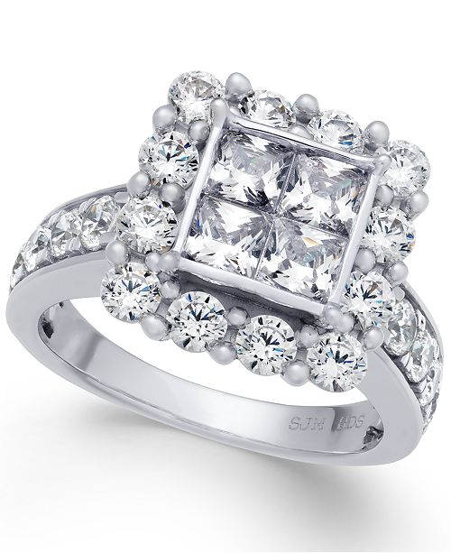4aed2c3a2 t.w.) in 14k White Gold; Macy's Diamond Square Cluster Halo Ring (3 ct.