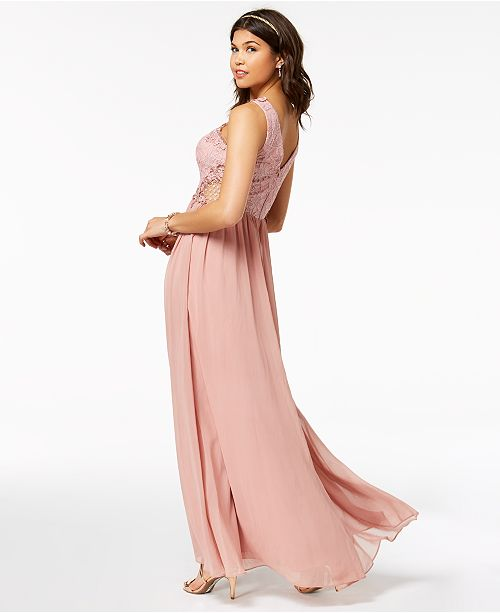 e06f076f6de ... City Studios Juniors  Embellished Illusion Tulip Gown