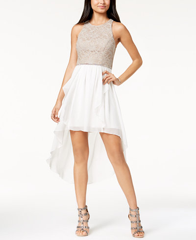 City Studios Juniors' Lace & Chiffon High-Low Dress