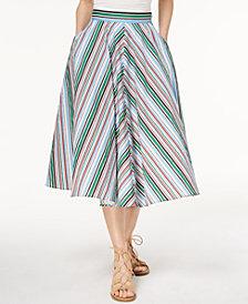 Marella Cotton Stretch Poplin Striped Midi Skirt