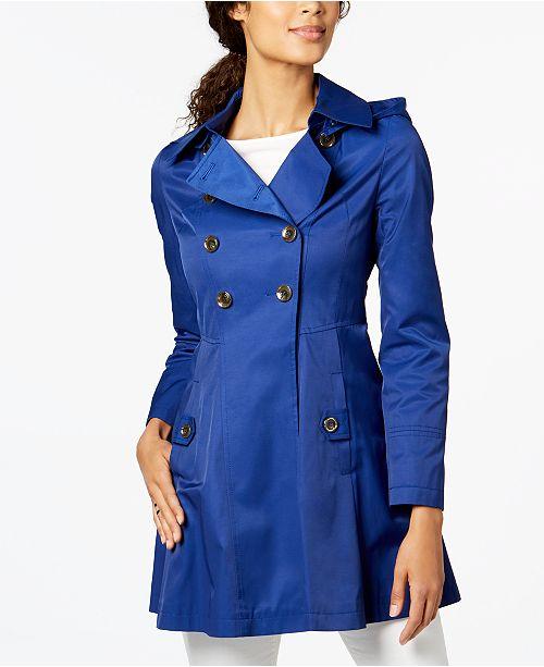 6392b12bc29 Via Spiga Hooded Skirted Trench Coat   Reviews - Coats - Women - Macy s