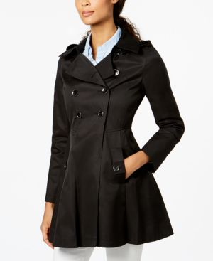 HOODED SKIRTED TRENCH COAT