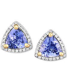 Tanzanite (1-3/8 ct. t.w.) & Diamond (1/8 ct. t.w.) Stud Earrings in 14k White Gold