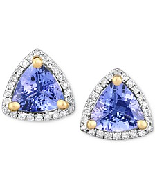 Tanzanite (1-3/8 ct. t.w.) & Diamond (1/8 ct. t.w.) Stud Earrings in 14k White Gold