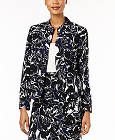 Kasper Printed Open-Front Jacket, Regular & Petite