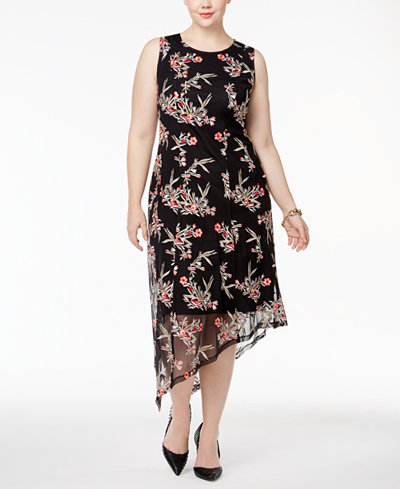 Alfani Plus Size Floral-Embroidered Asymmetrical Dress, Created for Macy's