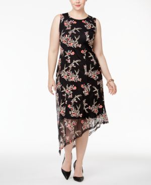 Image of Alfani Plus Size Floral-Embroidered Asymmetrical Dress, Created for Macy's