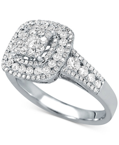 Diamond Square Halo Cluster Ring (1 ct. t.w.) in 14k White Gold